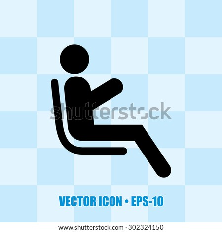 Icon of Passenger. Man at airplane for web & mobile. Eps-10. - stock vector