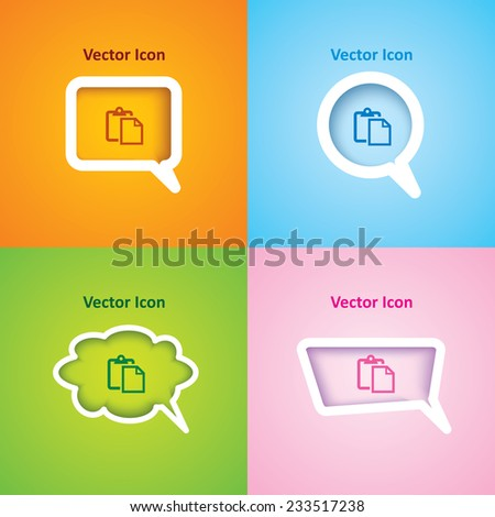 icon of paste on four kinds of speech bubble with four different color beautiful background. Eps-10. - stock vector