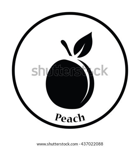 Icon of Peach. Thin circle design. Vector illustration.