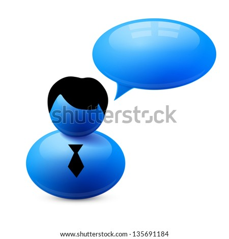 Icon of person with speech bubble. Vector illustration