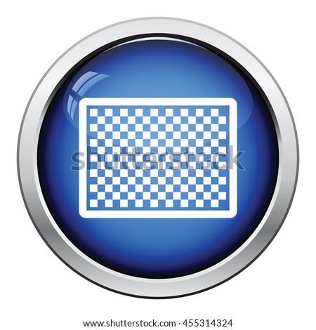 Icon of photo camera sensor. Glossy button design. Vector illustration. - stock vector
