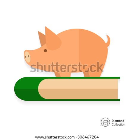 Icon of piggy bank standing on book - stock vector