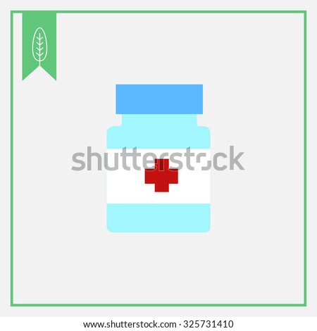 Icon of pill bottle with cross label - stock vector