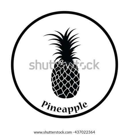 Icon of Pineapple. Thin circle design. Vector illustration. - stock vector