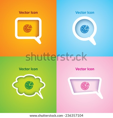 icon of pizza on four kinds of speech bubble with four different color ...