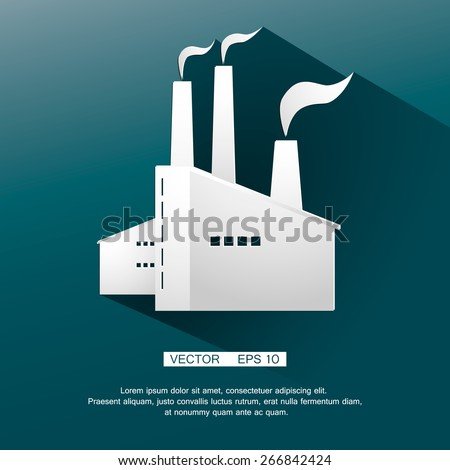 Icon of plant of industrial production. Vector illustration.  - stock vector
