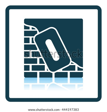 Icon of plastered brick wall . Shadow reflection design. Vector illustration.