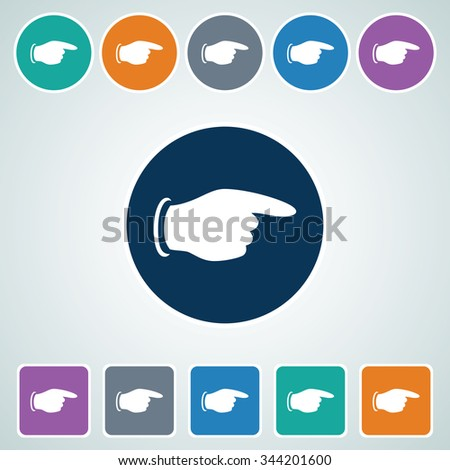 Icon of Pointing Finger in Multi Color Circle & Square Shape. Eps-10. - stock vector