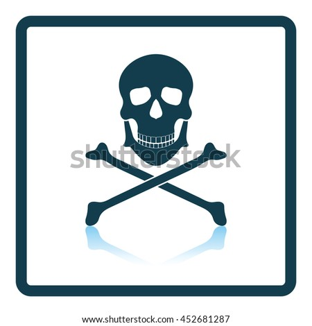Icon of poison from skill and bones. Shadow reflection design. Vector illustration.