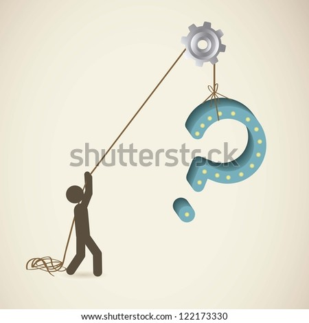 Icon of question, person pulling a Question, vector illustration - stock vector