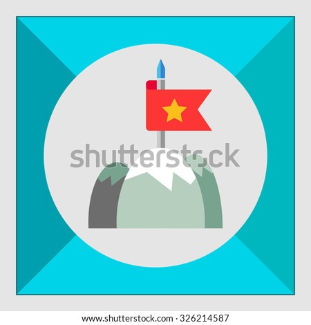 Icon of red fluttering flag on mountain top