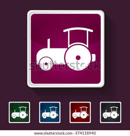 Icon of Road Roller on Multicolored Squares. Eps-10. - stock vector