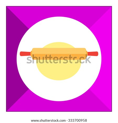 Icon of rolling pin rolling out dough piece - stock vector