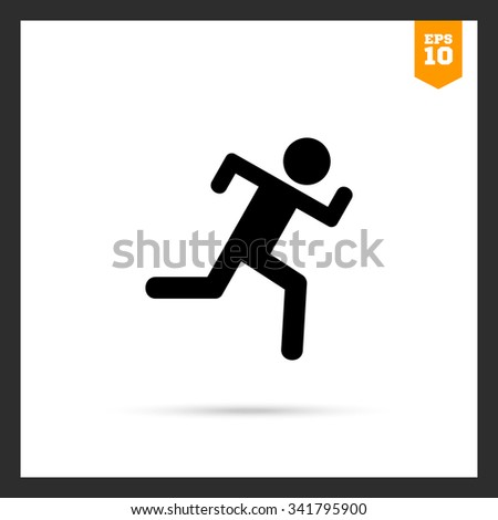 Icon of running man silhouette - stock vector
