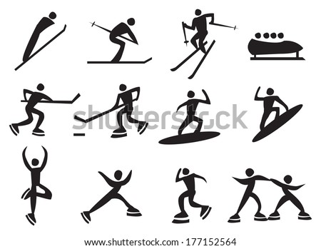 Icon of silhouettes man enjoying the winter sports. Vector illustration.