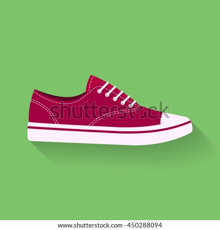 icon of sneakers. Sport shoes, footwear vector sign, symbol - stock vector
