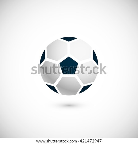 Icon of soccer / football ball. Isolated on white background. Vector illustration, eps 10.