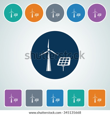 Icon of Solar Panel in Multi Color Circle & Square Shape. Eps-10. - stock vector