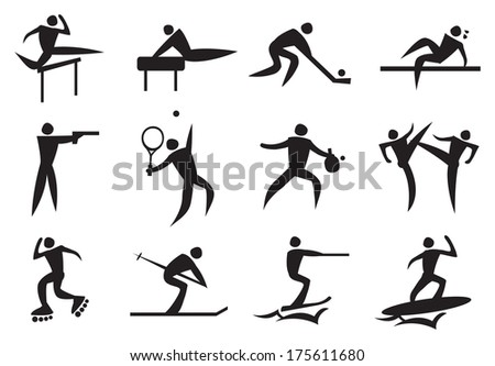 Icon of sport man in the different activities. Vector illustration.