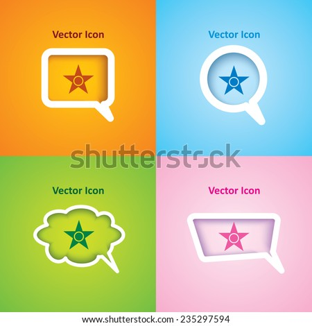 Icon of star on four kinds of speech bubble with four different color beautiful background. Eps-10. - stock vector