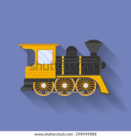 Icon of Steam Locomotive or Puffer. Flat style - stock vector