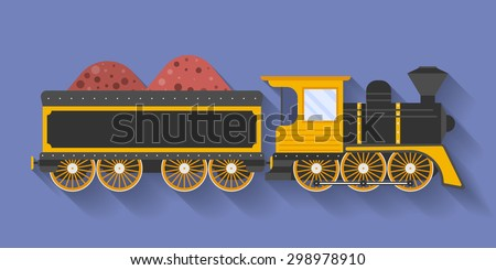 Icon of Steam Locomotive or Puffer with the wagon. Flat style - stock vector