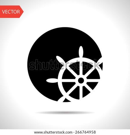 icon of steering wheel - stock vector