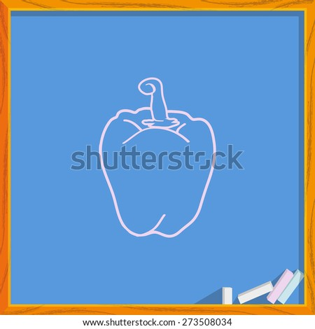 Icon of sweet pepper. Isolated on background of an s?hool board. Modern vector illustration for web and mobile. - stock vector