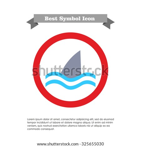 Icon of swimming shark fin above water