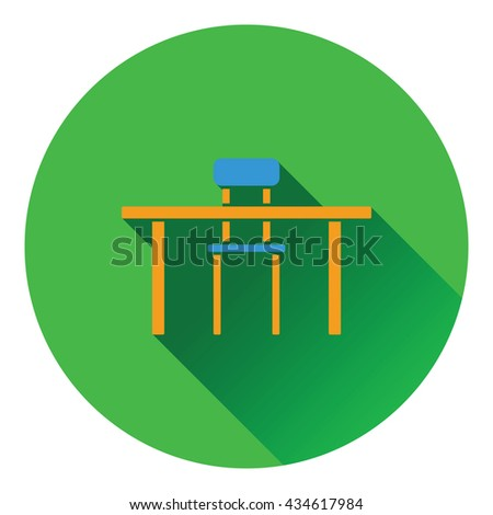 Icon of Table and chair. Flat design. Vector illustration.