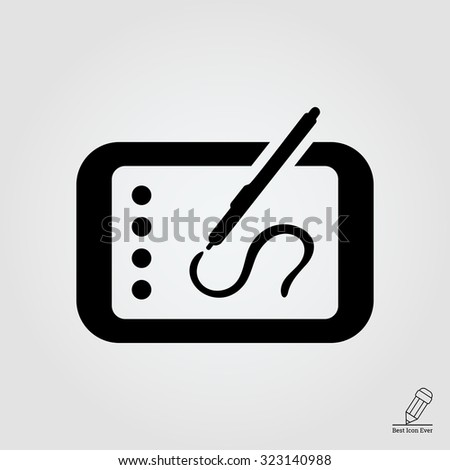 Icon of tablet computer with stylus drawing on screen - stock vector