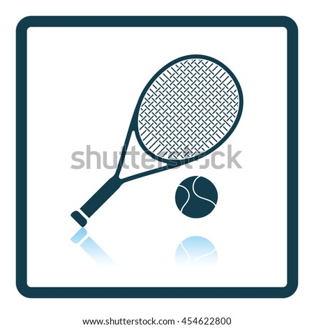 Icon of Tennis rocket and ball . Shadow reflection design. Vector illustration. - stock vector