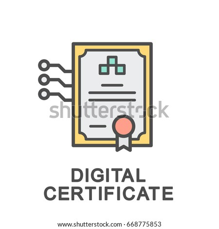 Icon electronic certificate form document thin stock vector icon of the electronic certificate in the form of a document the thin contour lines yelopaper Choice Image