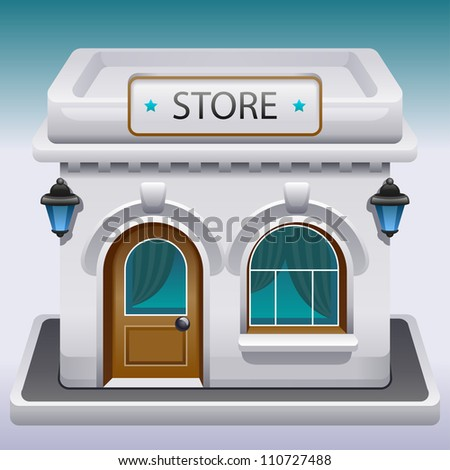 Icon of the facade of a shop store or cafe - stock vector