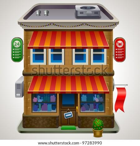 Icon of the facade of a shop store or cafe - stock vector