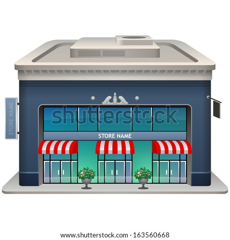Icon of the facade of a store. Vector illustration. Eps 10.