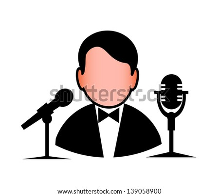 icon of the man before a microphone - stock vector