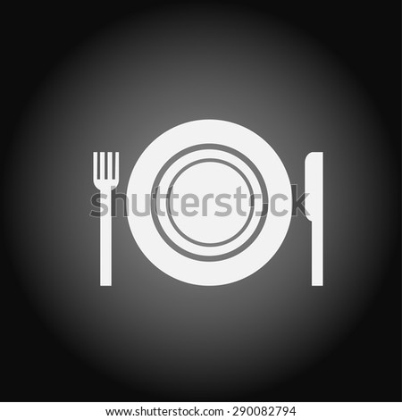icon of the plate fork and knife - stock vector