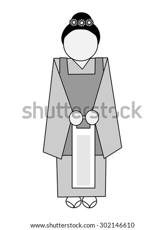 Icon of the Seven-Five-Three Festival that 7 years old, 5 years old of Japan, a 3-year-old child celebrate in a Shinto shrine - stock vector