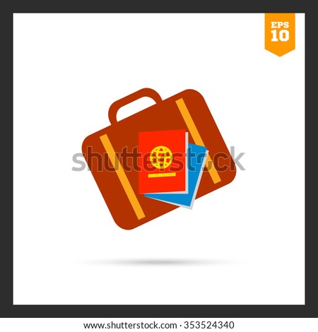 Icon of travel suitcase and passports - stock vector