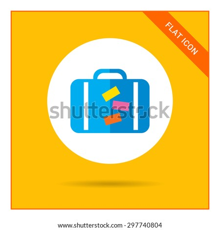 Icon of travel suitcase with stickers - stock vector