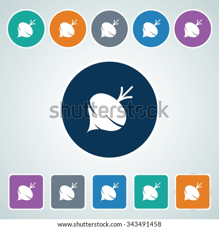 Icon of Turnip in Multi Color Circle & Square Shape. Eps-10. - stock vector