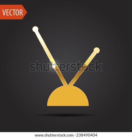 icon of tv antenna - stock vector