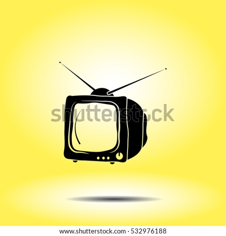 Icon of tv on yellow background. All elements tv for web design and decoration of greeting cards.