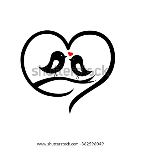 Love Birds Kissing Silhouette