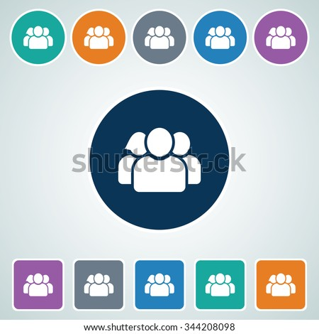 Icon of User in Multi Color Circle & Square Shape. Eps-10. - stock vector