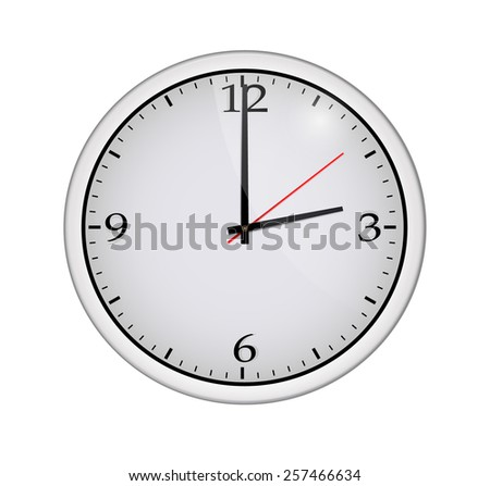 Icon of white clock with shadow. Vector illustration - stock vector