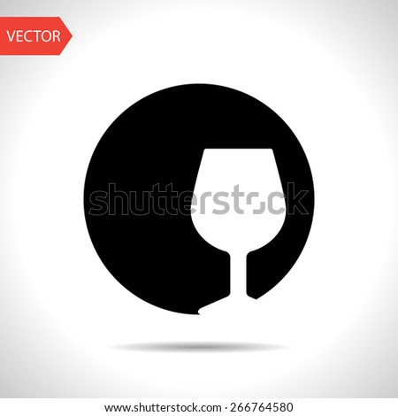 icon of wine glass - stock vector