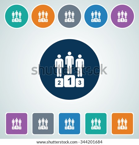 Icon of Winners Podium in Multi Color Circle & Square Shape. Eps-10. - stock vector