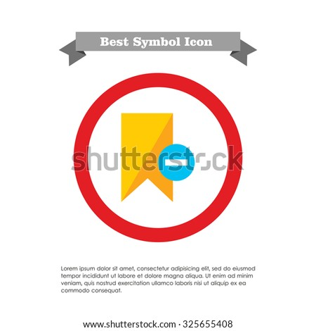 Icon of yellow tag sign with minus depicting Remove from tags - stock vector